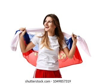 Happy fan with Russian flag shouting celebrating or yelling for the team on game isolated on a white background