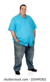 Happy fat man with blue shirt isolated on white background