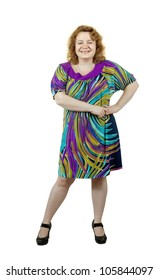 Happy fat ugly woman. Isolated over white background