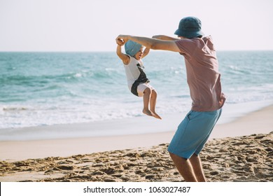 Happy Father Cute Little Daughter Having Fun on Tropical Beach