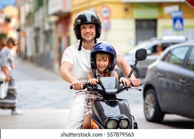 Happy father with daughter have fun outdoors.