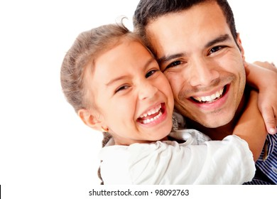 Happy father and daughter smiling - isolated over a white background