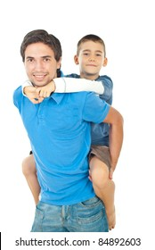 Happy father giving piggyback to his son  isolated on white backgorund