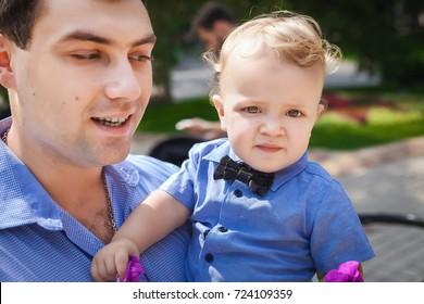 happy father and his son in outdoor