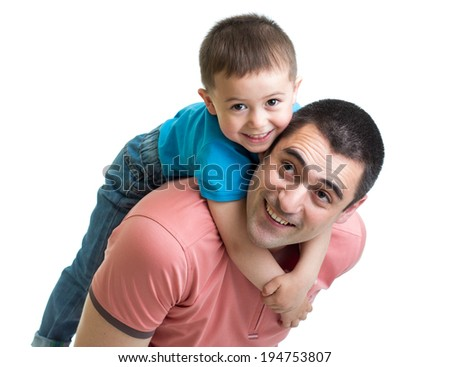happy father holding his son on his back isolated on white