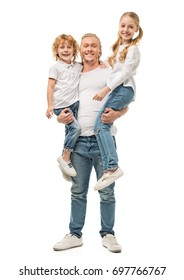 happy father holding kids in hands and looking at camera isolated on white
