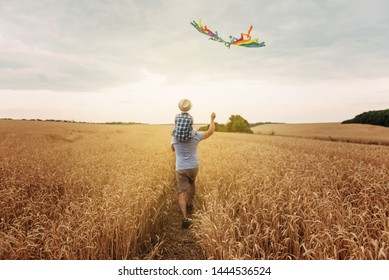 Happy father and son flying kite in the field at sunset