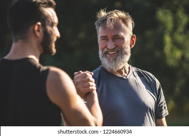 The happy father and a son handshaking outdoor