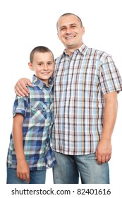 Happy father and son, isolated on white background