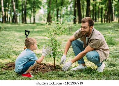 happy father and son planting tree at park