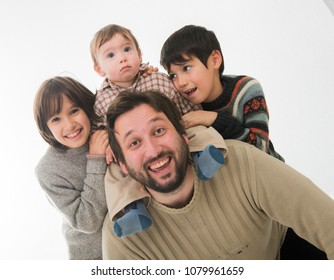 Happy Father with three sons Portrait