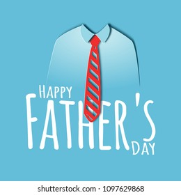 Happy fathers day 3D paper cut card with red tie