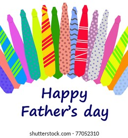 Happy Father's Day card with a pattern of colorful ties isolated on a white background