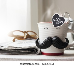 Happy fathers day concept of coffee cup