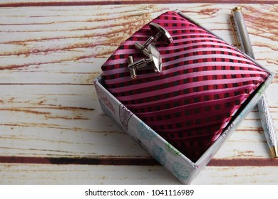 HAPPY FATHER'S DAY CONCEPT with gift box,tie,cufflin and pen .
