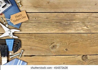 Happy Fathers Day gift tag with side border of tools and ties on a rustic wood background