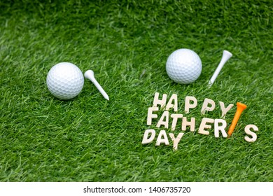 Happy Father's Day to golfer with golf ball on green grass.