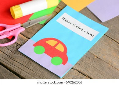 Happy fathers day greeting card colored stock photo edit now happy fathers day greeting card colored paper sheets scissors glue on old wooden m4hsunfo