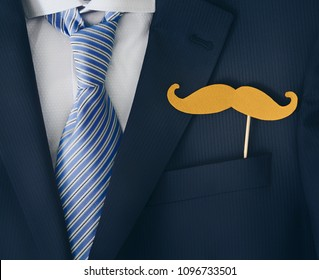 Happy Fathers Day! Greeting with necktie, costume and moustache.