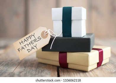 Happy fathers day label attached to presents