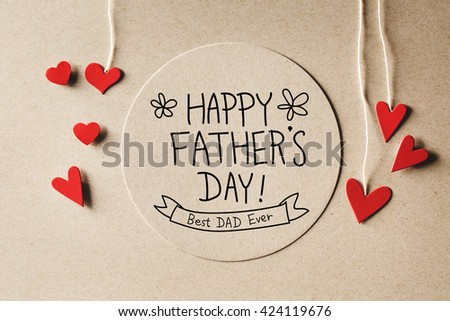 happy fathers day message with handmade small paper hearts