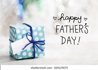 Happy Fathers Day message with small handmade gift box