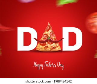 Happy Father's Day Pizza Concept. DAD type shape with pizza concept for restaurant and food brand for father's day. Pizza Restaurant fast food Father's day concept. - Shutterstock ID 1989424142