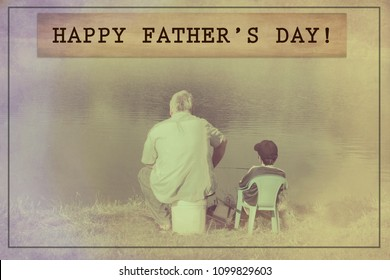 'Happy father's day' quote with father and son fishing in the background in sepia/vintage style.