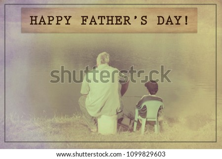 Happy Fathers Day Quote Father Son Stock Photo Edit Now 1099829603