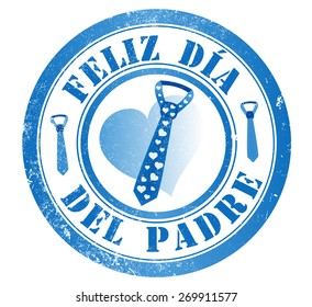 happy fathers day stamp, in spanish language