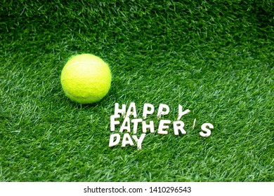 Happy Father's Day to Tennis Player with tennis ball on green grass