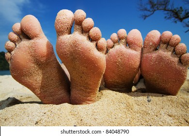 happy feet on the beach