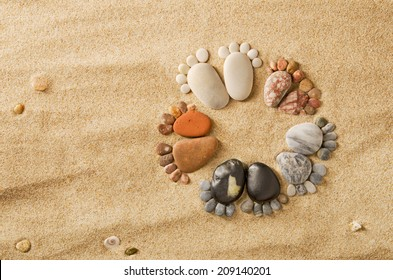 Happy feet. Stone arranged like footprints on the beach