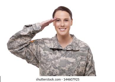 Happy female American soldier saluting