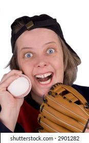 Happy female baseball fan with baseball hat,glove,mitt and t-shirt