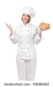 happy female chef isolated on white background