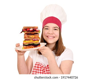 happy female cook with healthy veggie sandwich