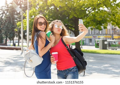 Happy female friends taking selfie on smartphone outdoors at summe