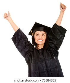 Happy female graduate with arms up - isolated over white