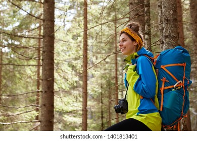 Happy female holidaymaker walks through trees in forest, being in good mood, enjoys sunny day, fresh air, beautiful nature, dressed in casual clothes has big rucksack, photocamera, involved in camping