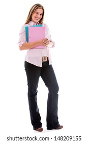 Happy female student holding notebooks - isolated over white