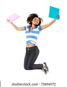 Happy female student jumping - isolated over white