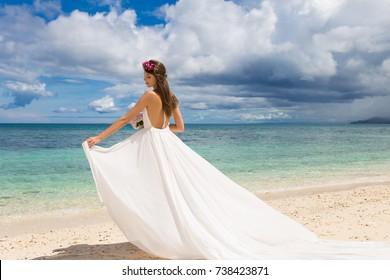 Happy Bride White Wedding Dress Big Stock Photo Royalty Free