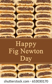 Happy Fig Newton Day greeting, Fig Newtons stacked with text Happy Fig Newton Day