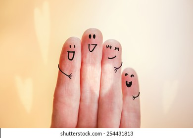 Happy finger family group with heart shaped ray of light. Instagram effect.