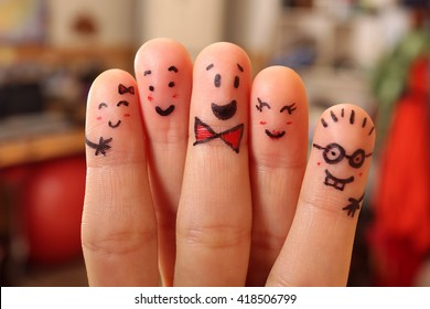 Happy finger friends having fun together.