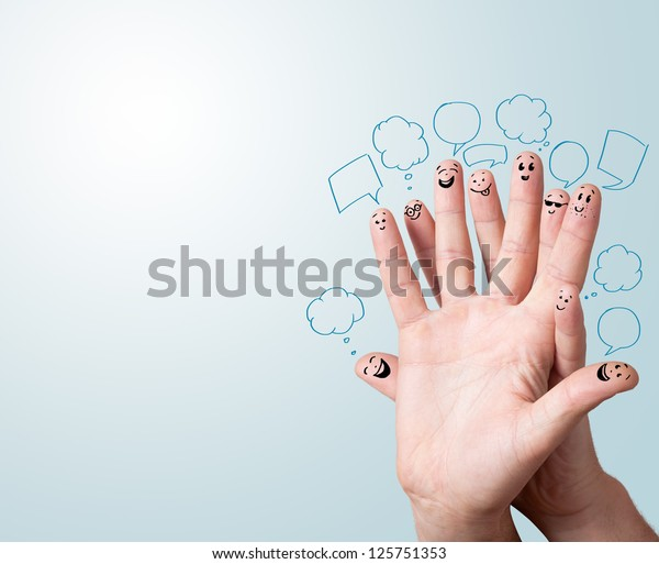 Happy finger smileys with speech bubbles.