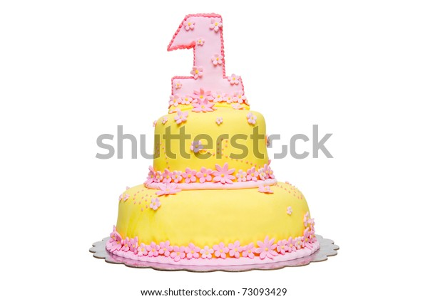 Peachy Happy First Birthday Yellow Fondant Cake Stock Photo Edit Now Personalised Birthday Cards Sponlily Jamesorg