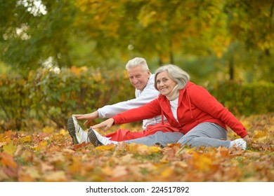 Happy fit senior couple  exercising in autumn park