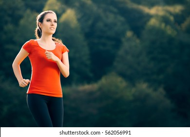 Happy Fit Sportive Woman Running Outside  - Fitness girl jogging in nature in a sunny day